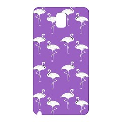 Flamingo White On Lavender Pattern Samsung Galaxy Note 3 N9005 Hardshell Back Case by CrypticFragmentsColors