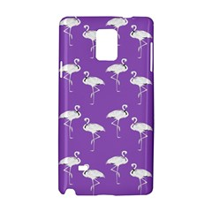 Flamingo White On Lavender Pattern Samsung Galaxy Note 4 Hardshell Case by CrypticFragmentsColors