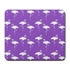 Flamingo White On Lavender Pattern Large Mouse Pad (rectangle)