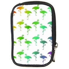 Flamingo Pattern Rainbow  Compact Camera Leather Case by CrypticFragmentsColors