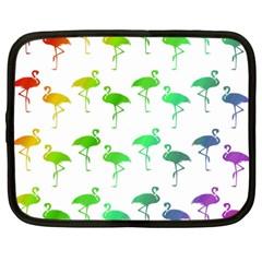Flamingo Pattern Rainbow  Netbook Sleeve (xxl) by CrypticFragmentsColors