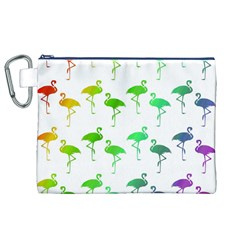 Flamingo Pattern Rainbow  Canvas Cosmetic Bag (xl) by CrypticFragmentsColors