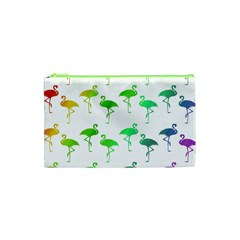 Flamingo Pattern Rainbow  Cosmetic Bag (xs) by CrypticFragmentsColors