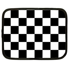 Checkered Flag Race Winner Mosaic Tile Pattern Netbook Sleeve (large) by CrypticFragmentsColors