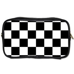 Checkered Flag Race Winner Mosaic Tile Pattern Travel Toiletry Bag (two Sides) by CrypticFragmentsColors