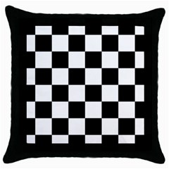 Checkered Flag Race Winner Mosaic Tile Pattern Black Throw Pillow Case by CrypticFragmentsColors