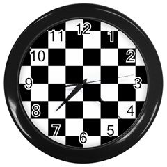 Checkered Flag Race Winner Mosaic Tile Pattern Wall Clock (black) by CrypticFragmentsColors