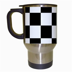 Checkered Flag Race Winner Mosaic Tile Pattern Travel Mug (white) by CrypticFragmentsColors