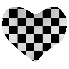 Checkered Flag Race Winner Mosaic Tile Pattern 19  Premium Heart Shape Cushion by CrypticFragmentsColors