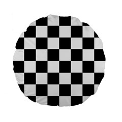 Checkered Flag Race Winner Mosaic Tile Pattern 15  Premium Flano Round Cushion  by CrypticFragmentsColors