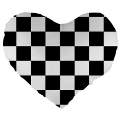 Checkered Flag Race Winner Mosaic Tile Pattern 19  Premium Flano Heart Shape Cushion by CrypticFragmentsColors