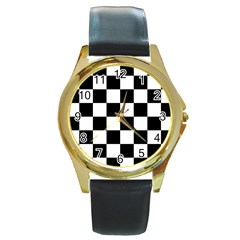 Checkered Flag Race Winner Mosaic Tile Pattern Round Leather Watch (gold Rim)  by CrypticFragmentsColors
