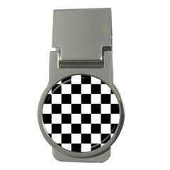 Checkered Flag Race Winner Mosaic Tile Pattern Money Clip (round) by CrypticFragmentsColors