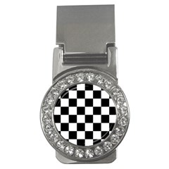 Checkered Flag Race Winner Mosaic Tile Pattern Money Clip (cz) by CrypticFragmentsColors