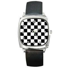 Checkered Flag Race Winner Mosaic Tile Pattern Square Leather Watch by CrypticFragmentsColors