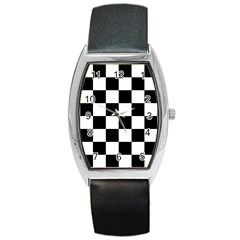 Checkered Flag Race Winner Mosaic Tile Pattern Tonneau Leather Watch by CrypticFragmentsColors