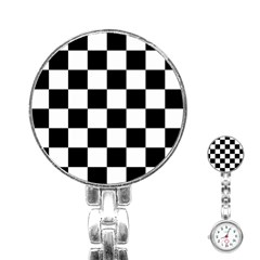 Checkered Flag Race Winner Mosaic Tile Pattern Stainless Steel Nurses Watch