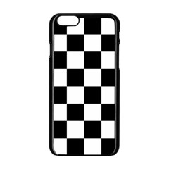 Checkered Flag Race Winner Mosaic Tile Pattern Apple Iphone 6 Black Enamel Case by CrypticFragmentsColors