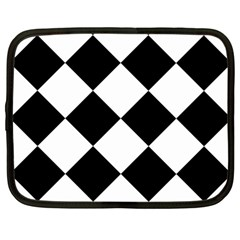 Harlequin Diamond Mosaic Tile Pattern Black White Netbook Sleeve (large) by CrypticFragmentsColors