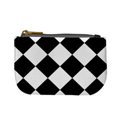Harlequin Diamond Mosaic Tile Pattern Black White Coin Change Purse by CrypticFragmentsColors