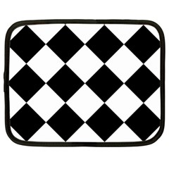 Harlequin Diamond Mosaic Tile Pattern Black White Netbook Sleeve (xl) by CrypticFragmentsColors