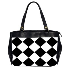 Harlequin Diamond Mosaic Tile Pattern Black White Oversize Office Handbag (two Sides) by CrypticFragmentsColors