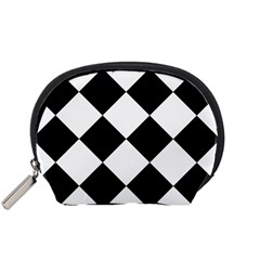 Harlequin Diamond Mosaic Tile Pattern Black White Accessory Pouch (small) by CrypticFragmentsColors