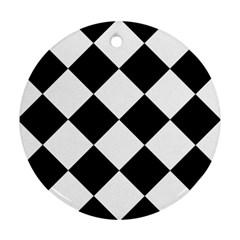 Harlequin Diamond Mosaic Tile Pattern Black White Round Ornament by CrypticFragmentsColors
