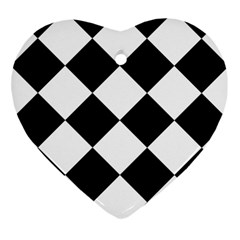Harlequin Diamond Mosaic Tile Pattern Black White Heart Ornament by CrypticFragmentsColors