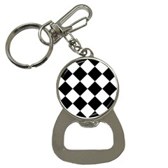 Harlequin Diamond Mosaic Tile Pattern Black White Bottle Opener Key Chain by CrypticFragmentsColors
