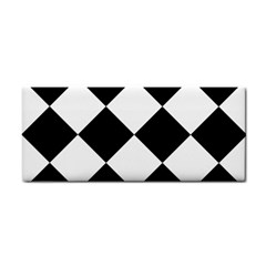 Harlequin Diamond Mosaic Tile Pattern Black White Hand Towel by CrypticFragmentsColors