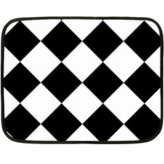 Harlequin Diamond Mosaic Tile Pattern Black White Mini Fleece Blanket (two Sided) by CrypticFragmentsColors