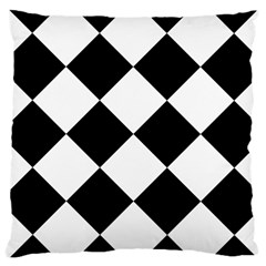 Harlequin Diamond Mosaic Tile Pattern Black White Large Cushion Case (two Sided)  by CrypticFragmentsColors