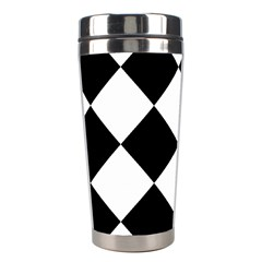 Harlequin Diamond Mosaic Tile Pattern Black White Stainless Steel Travel Tumbler by CrypticFragmentsColors