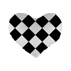 Harlequin Diamond Mosaic Tile Pattern Black White 16  Premium Flano Heart Shape Cushion  by CrypticFragmentsColors