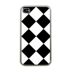 Harlequin Diamond Mosaic Tile Pattern Black White Apple Iphone 4 Case (clear) by CrypticFragmentsColors