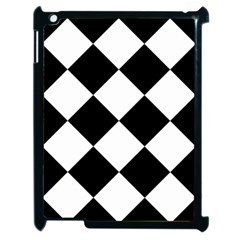 Harlequin Diamond Mosaic Tile Pattern Black White Apple Ipad 2 Case (black) by CrypticFragmentsColors