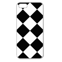 Harlequin Diamond Mosaic Tile Pattern Black White Apple Seamless Iphone 5 Case (clear) by CrypticFragmentsColors