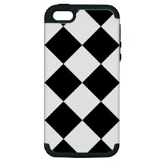 Harlequin Diamond Mosaic Tile Pattern Black White Apple Iphone 5 Hardshell Case (pc+silicone) by CrypticFragmentsColors