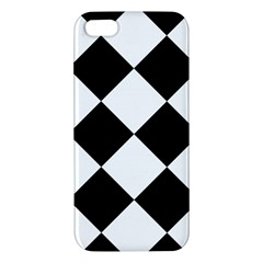 Harlequin Diamond Mosaic Tile Pattern Black White Apple Iphone 5 Premium Hardshell Case by CrypticFragmentsColors