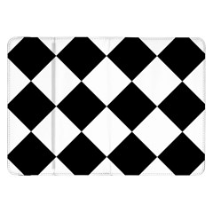 Harlequin Diamond Mosaic Tile Pattern Black White Samsung Galaxy Tab 8 9  P7300 Flip Case by CrypticFragmentsColors