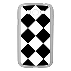 Harlequin Diamond Mosaic Tile Pattern Black White Samsung Galaxy Grand Duos I9082 Case (white) by CrypticFragmentsColors