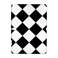 Harlequin Diamond Mosaic Tile Pattern Black White Samsung Galaxy Note 10 1 (p600) Hardshell Case by CrypticFragmentsColors