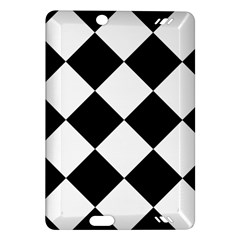 Harlequin Diamond Mosaic Tile Pattern Black White Kindle Fire Hd (2013) Hardshell Case by CrypticFragmentsColors