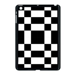 Modified Checkered Mosaic Tile Pattern Black White  Apple iPad Mini Case (Black) by CrypticFragmentsColors