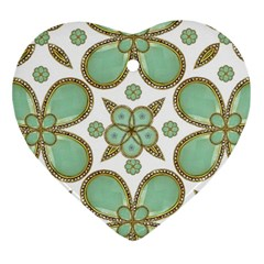 Luxury Decorative Pattern Collage Heart Ornament by dflcprints