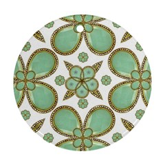 Luxury Decorative Pattern Collage Round Ornament (two Sides) by dflcprints