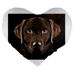 Chocolate Lab 19  Premium Heart Shape Cushion