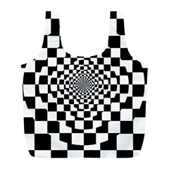 Checkered Flag Race Winner Mosaic Tile Pattern Repeat Reusable Bag (l) by CrypticFragmentsColors