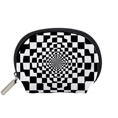 Checkered Flag Race Winner Mosaic Tile Pattern Repeat Accessory Pouch (small) by CrypticFragmentsColors